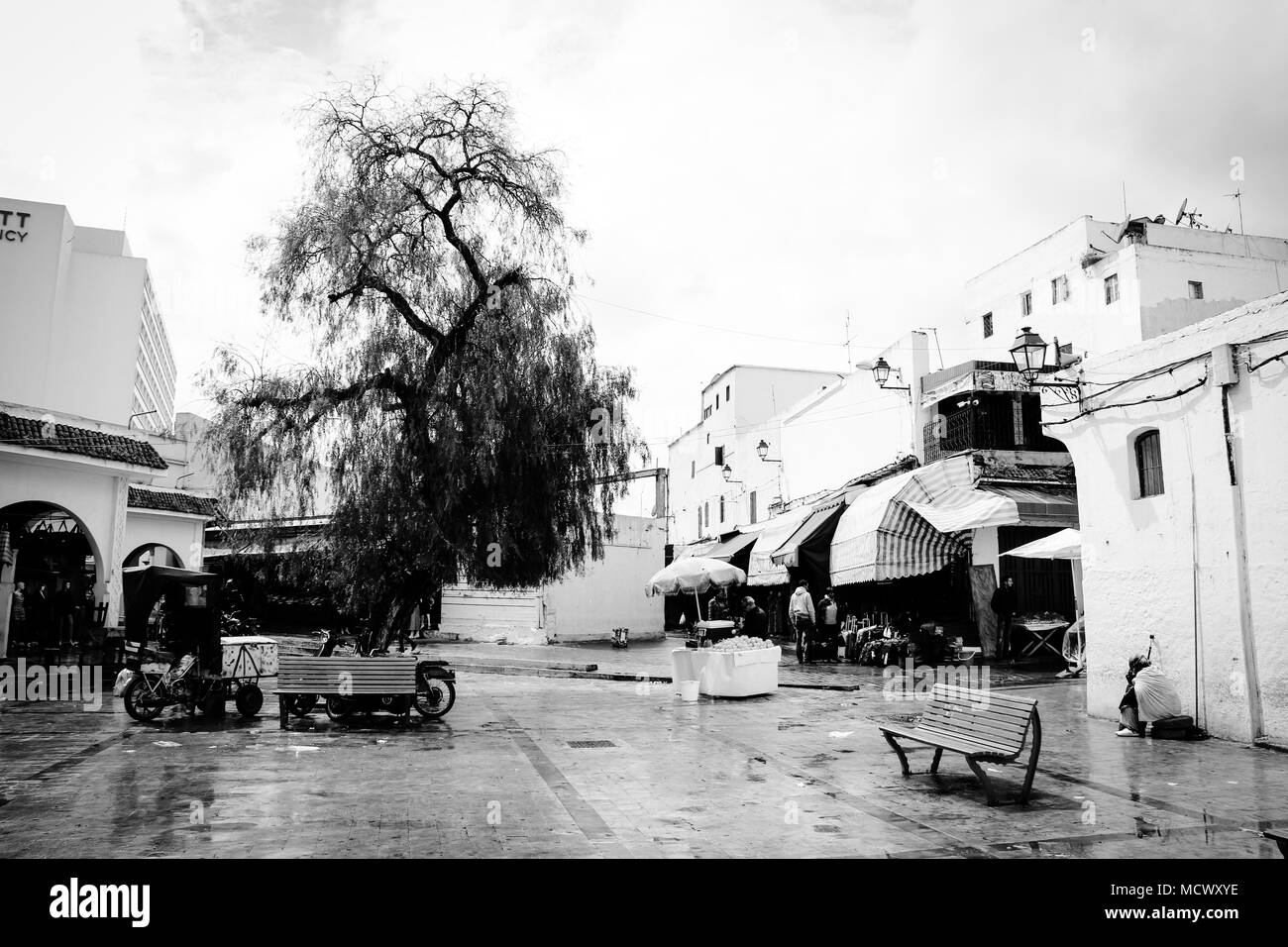 Old fashioned black and white picture of market stalls having vegetables on sale at the entrance of the old souk in Casablanca, Morocco - Stock Image