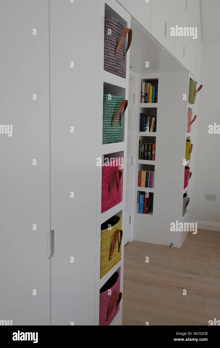 Scandinavian inspired, light-filled bedroom interior showing ...