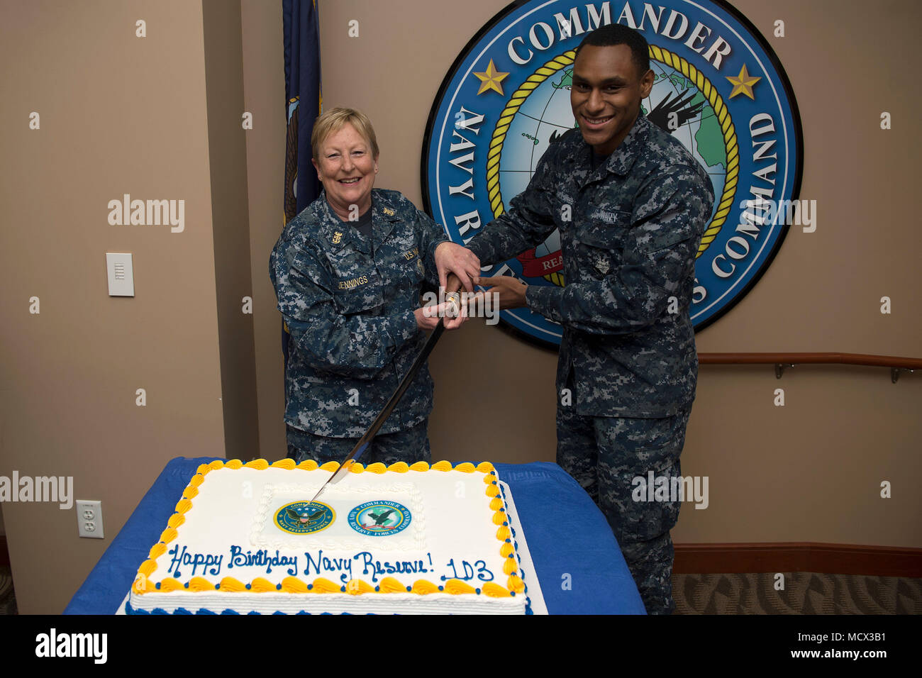 Master Chief Navy Counselor Annette Jennings left and Yeoman