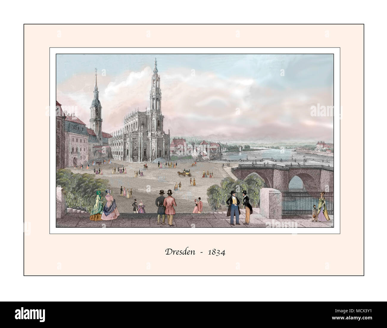 Dresden Original Design based on a 19th century Engraving - Stock Image