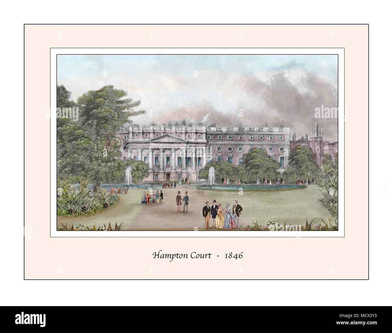 Hampton Court Original Design based on a 19th century Engraving - Stock Image