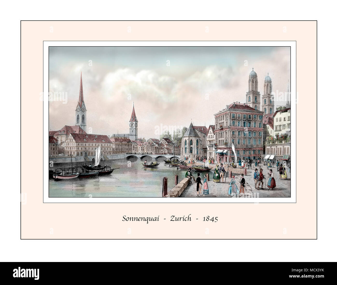 Sonnenquai Zurich Original Design based on a 19th century Engraving - Stock Image