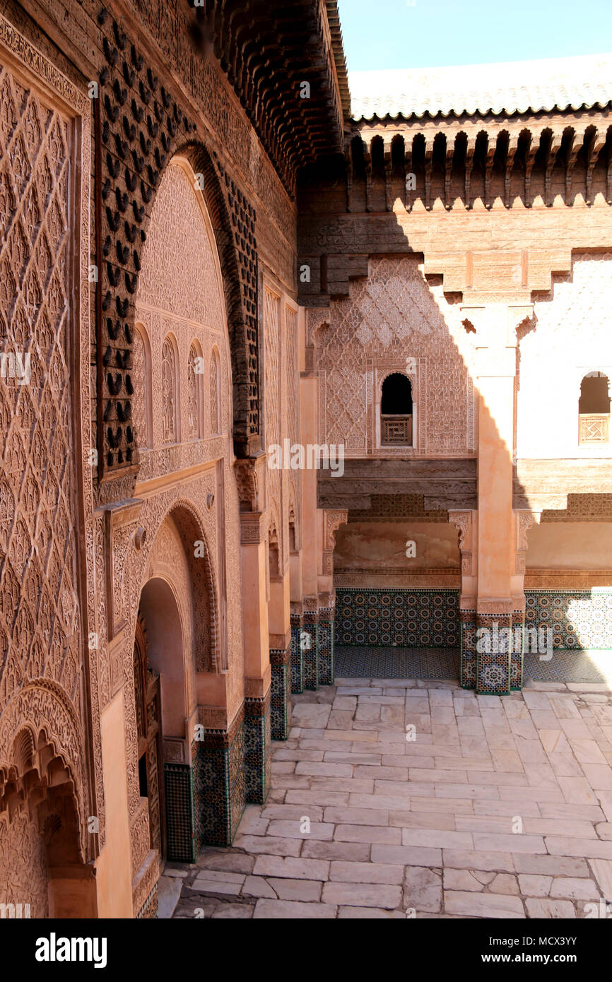 Colonnade around the inner courtyard of the Ben Youssef Madrasa (Qur'anic school) in Marrakesh, Morocco Stock Photo