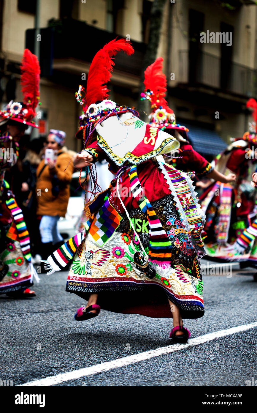 Celebrating Bolivian culture in Barcelona, Spain. - Stock Image