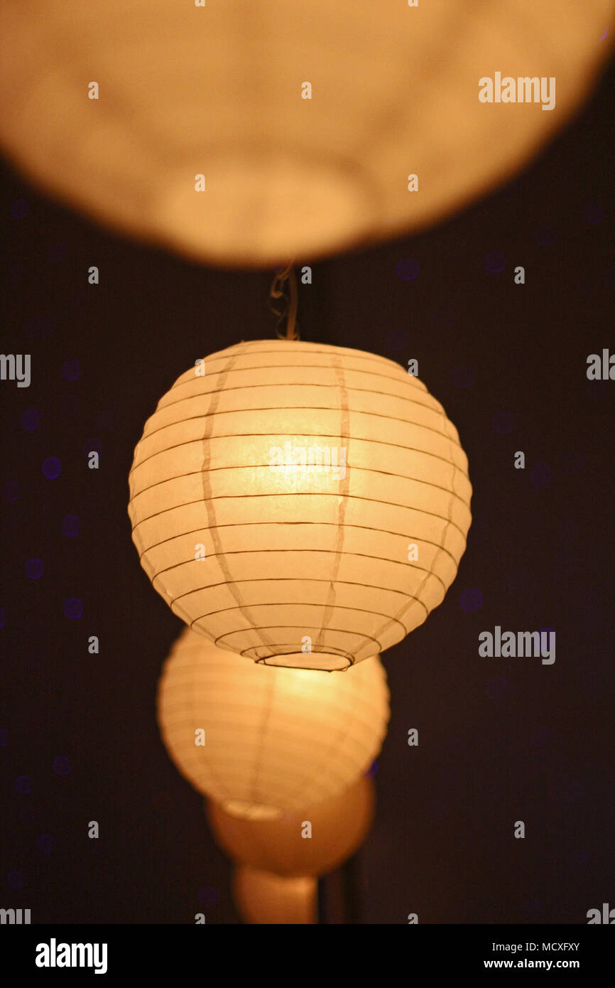 Many Hanging Paper Lanterns With Lights Wedding Decoration Stock