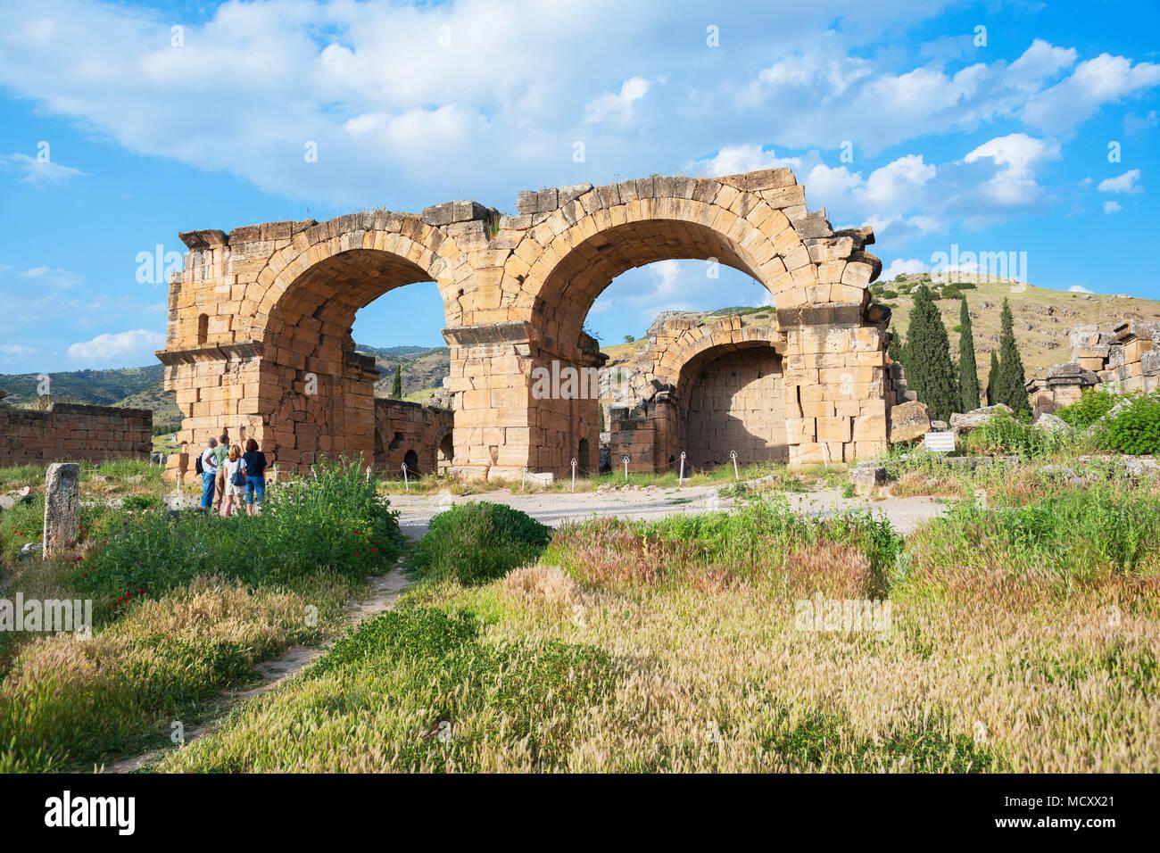 Ruins of basilica, Hierapolis, Pamukkale, Denizli, Anatolia, Turkey - Stock Image