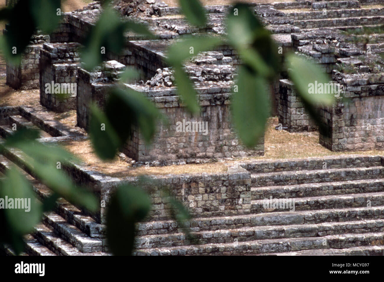 Ruins at the ancient Mayan archaeological site at Copan in western Honduras.Stock Photo