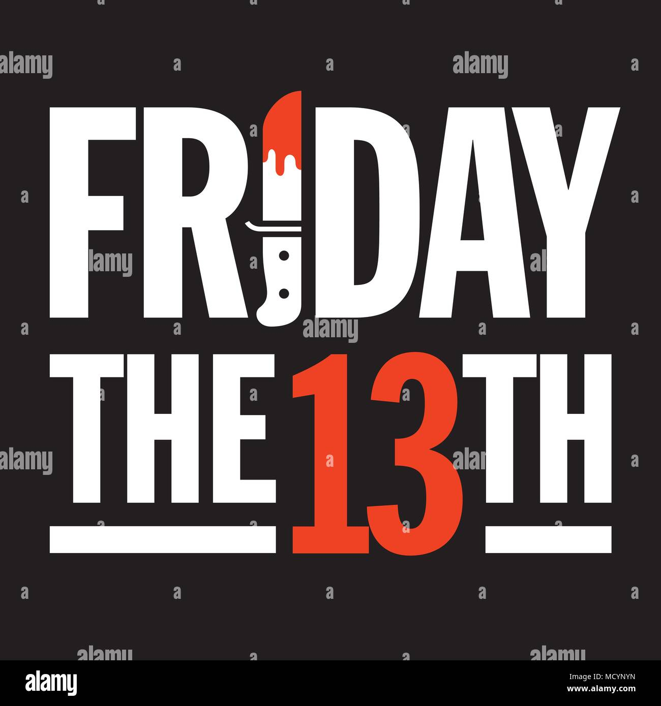 Friday 13th Vector Design. Great graphic design element for Friday 13 social media posts and advertising with bloody dagger making the I in Friday. - Stock Vector