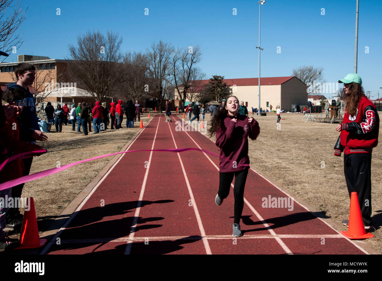 A Special Olympics athlete crosses the finish line during the Annual  Cherokee Strip Area 6 Special Olympics f57131abd770