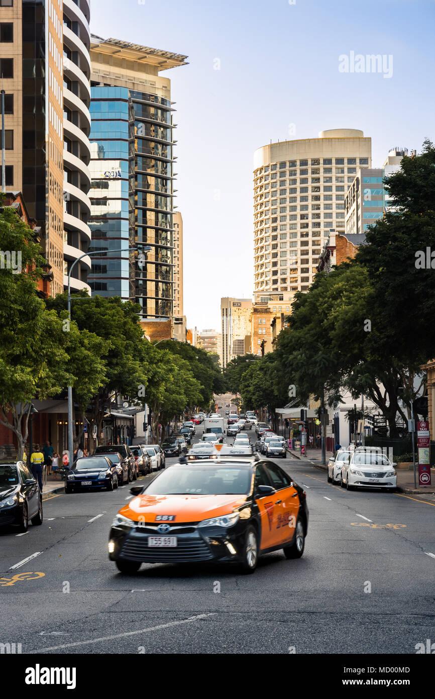 Brisbane, QLD, Australia - March 17, 2018 - Yellow Cab on Edward Street in downtown Brisbane - Stock Image