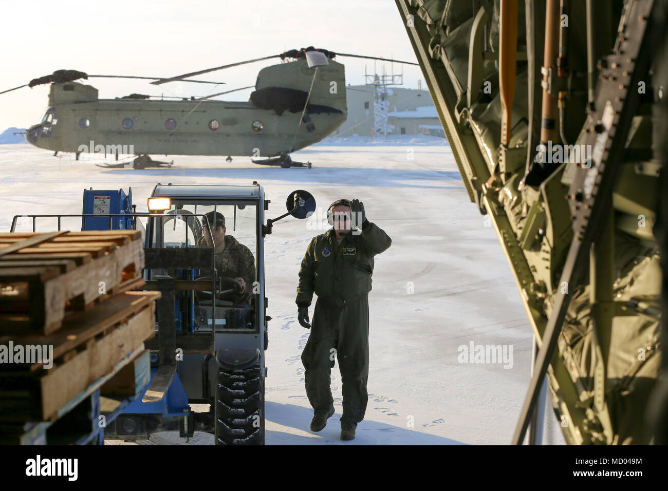 Alaska Air Guard Staff Sgt Tyler Hoskins A Loadmaster With The 211th Rescue Squadron Prepares An HC 130J Combat King II Aircraft To Load Personnel And
