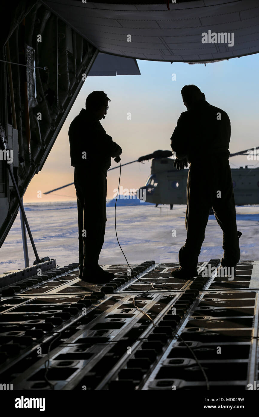 Alaska Air Guard Senior Master Sgt Marty Bellerive Left And Staff Tyler Hoskins Both Loadmasters With The 211th Rescue Squadron Prepare An