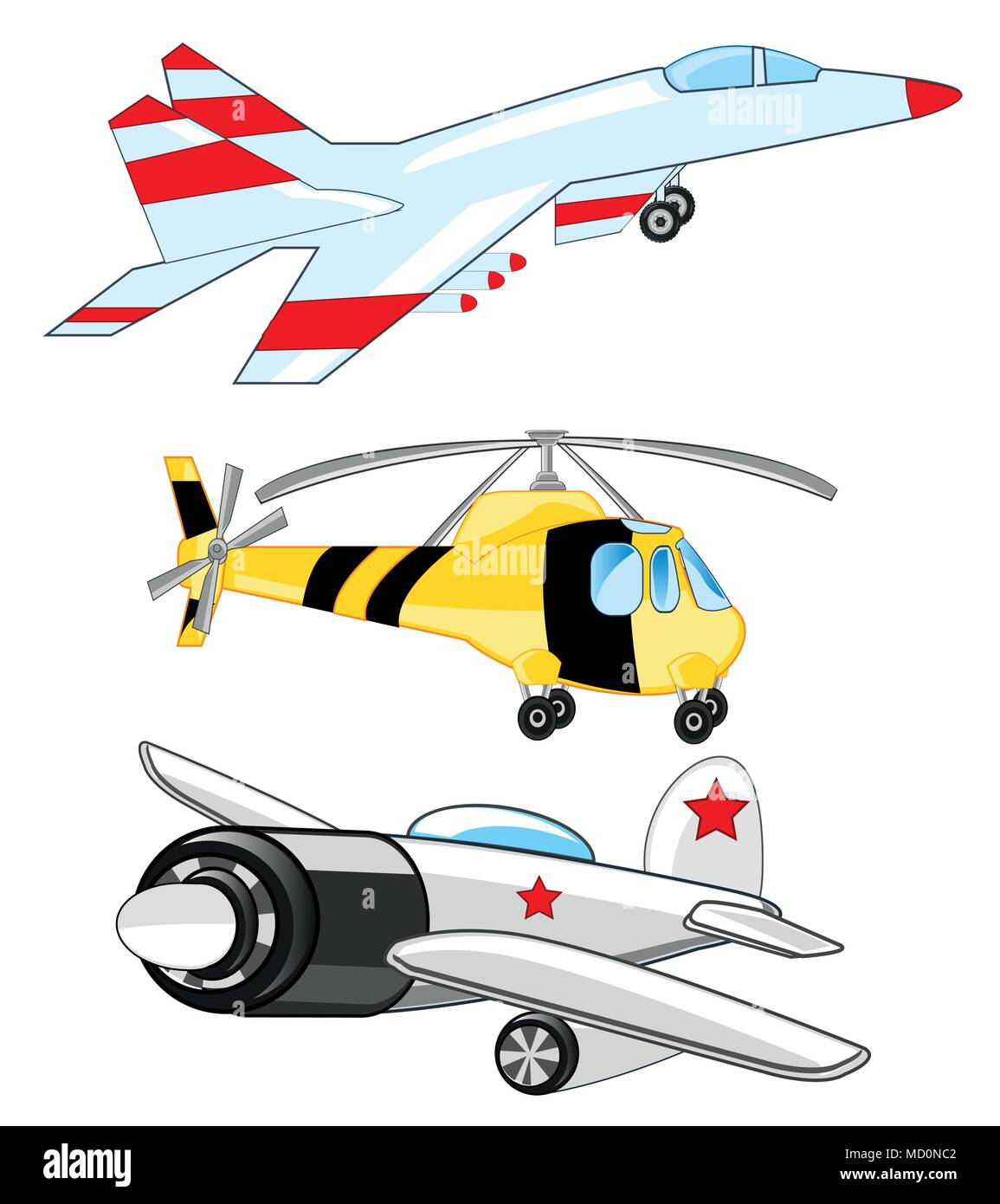 Plane ,fighter and helicopter - Stock Vector