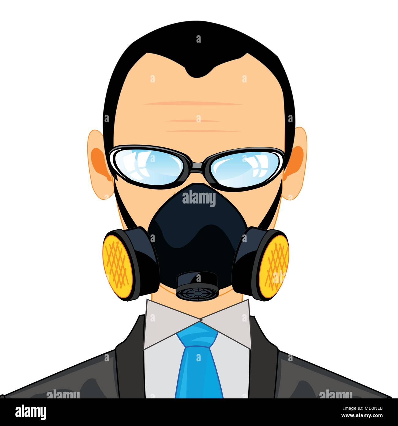 Man in respirator - Stock Image