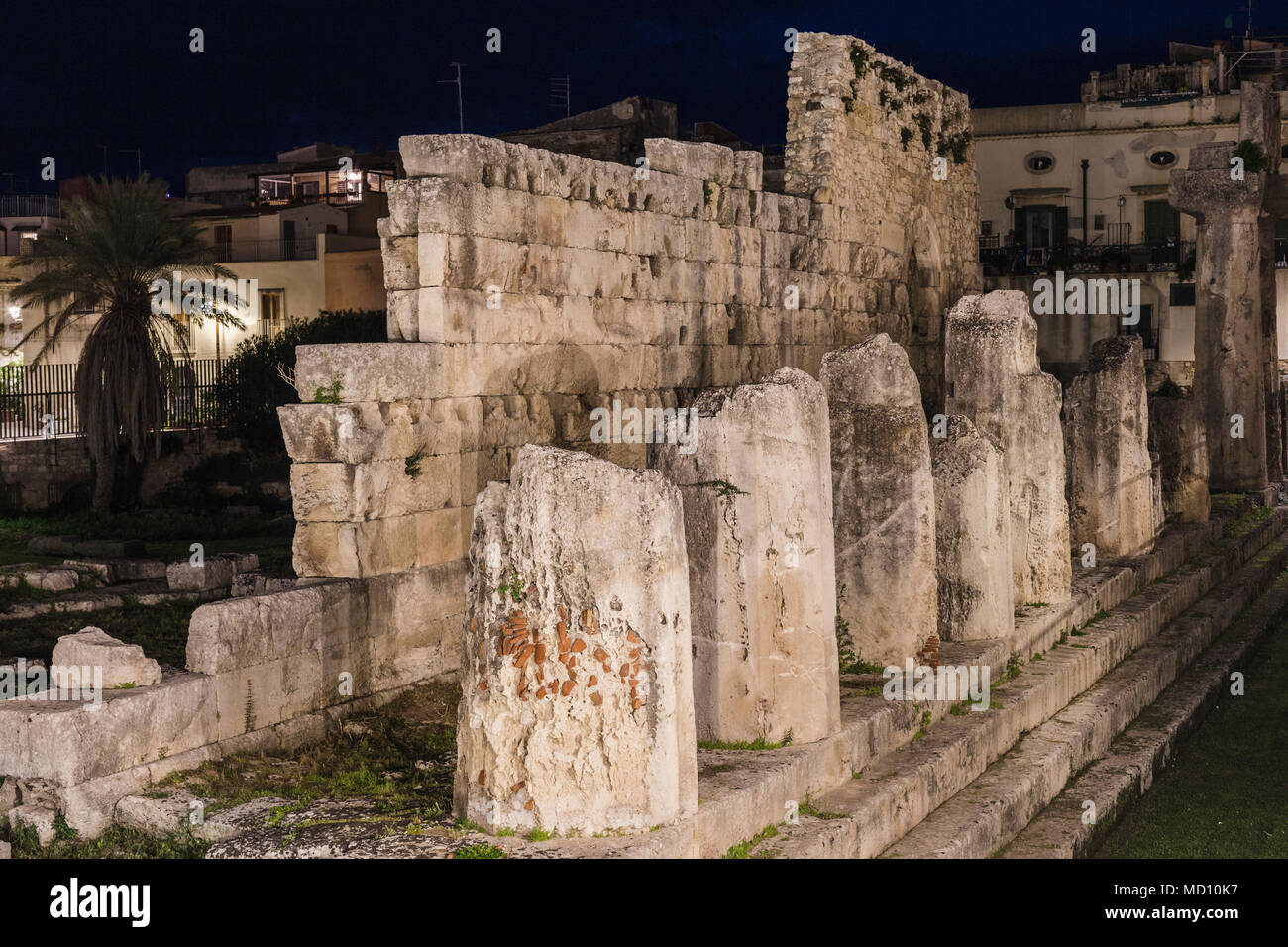 Temple of Apollo in Ortigia, Siracusa, Sicily. - Stock Image