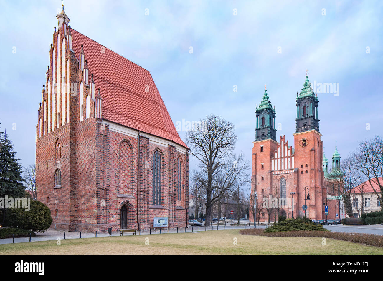 Cathedral in Poznan, on the island Ostrow Tumski between the Cybina and Warta river, Poland. Stock Photo