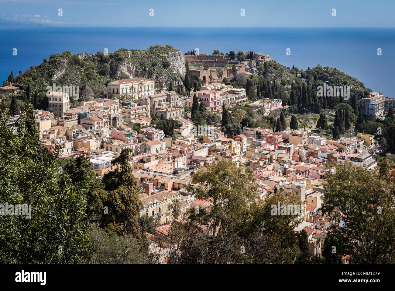 Town of Taormina with Ionian Sea in the background, Sicily. - Stock Image