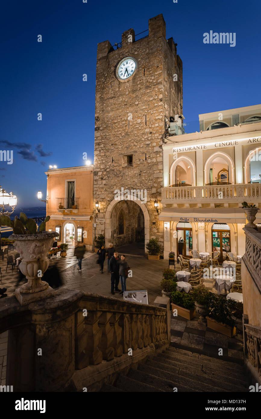 Clock Tower in Taormina, Sicily - Stock Image