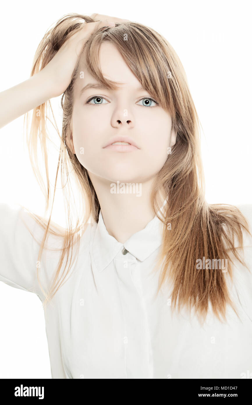 Young Fashion Woman on White Background - Stock Image