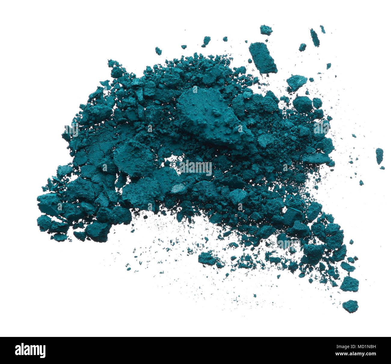 Crushed Texture Of Navy Blue Eye Shadow Isolated On White Background Macro Broken Dark Powder