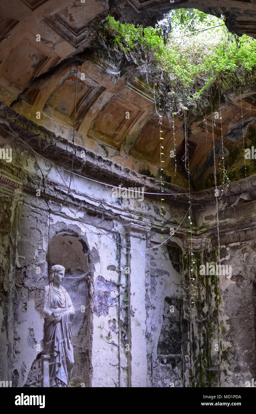 Caserta, Campania region, Italy August 22, 2016. The splendid Royal Palace of Caserta, details of the English gardens. - Stock Image