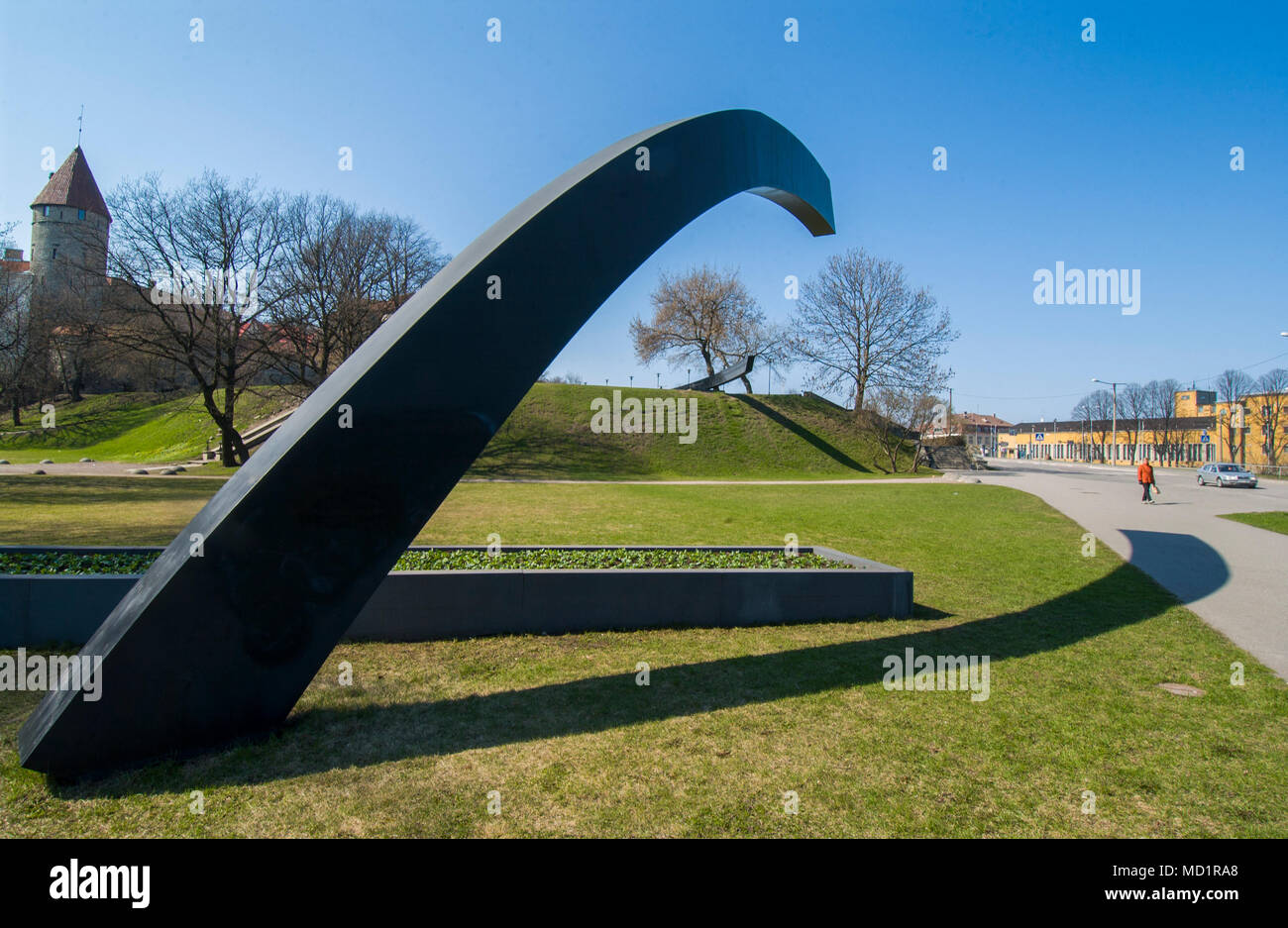 Estonia monument in Tallinn over the list of the Estonian ship that sink 1994, 28 September. - Stock Image