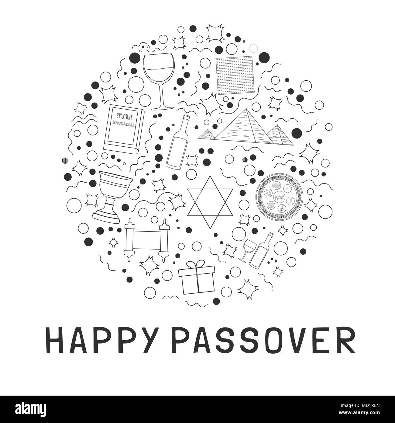Passover Holiday Flat Design Black Thin Line Icons Set In Round