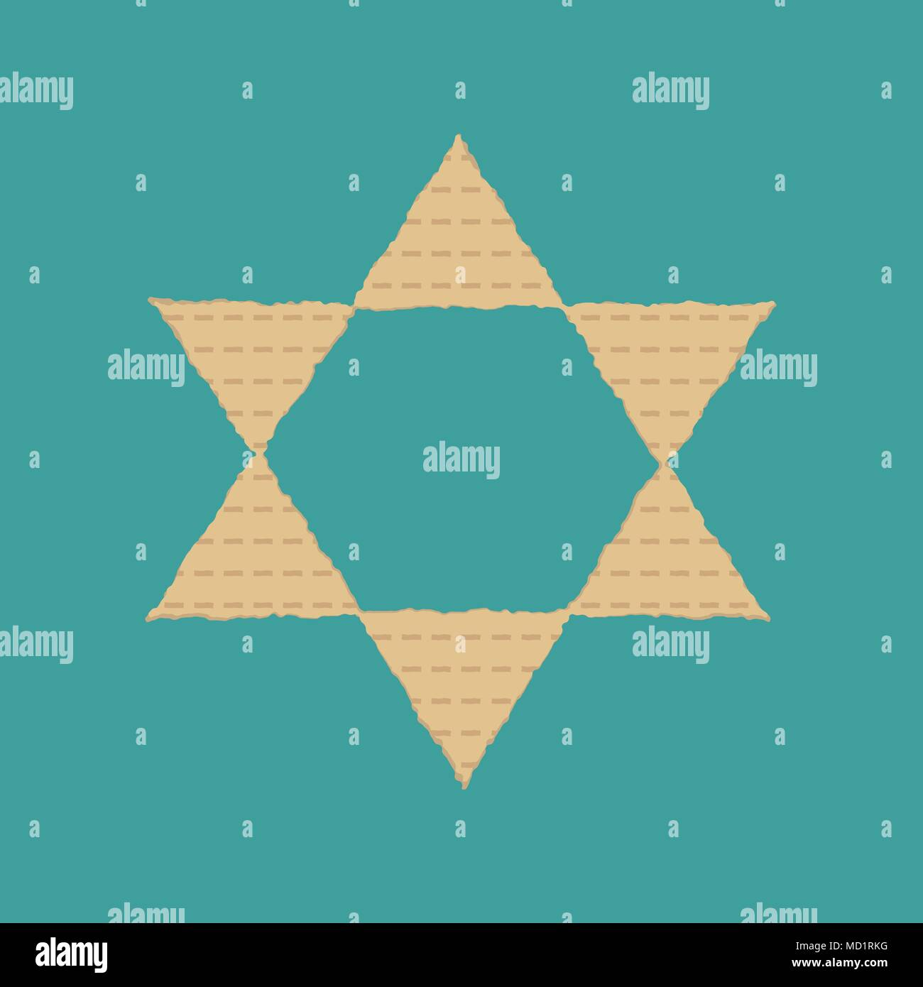 Passover holiday flat design icons of matzot in star of david shape. - Stock Image