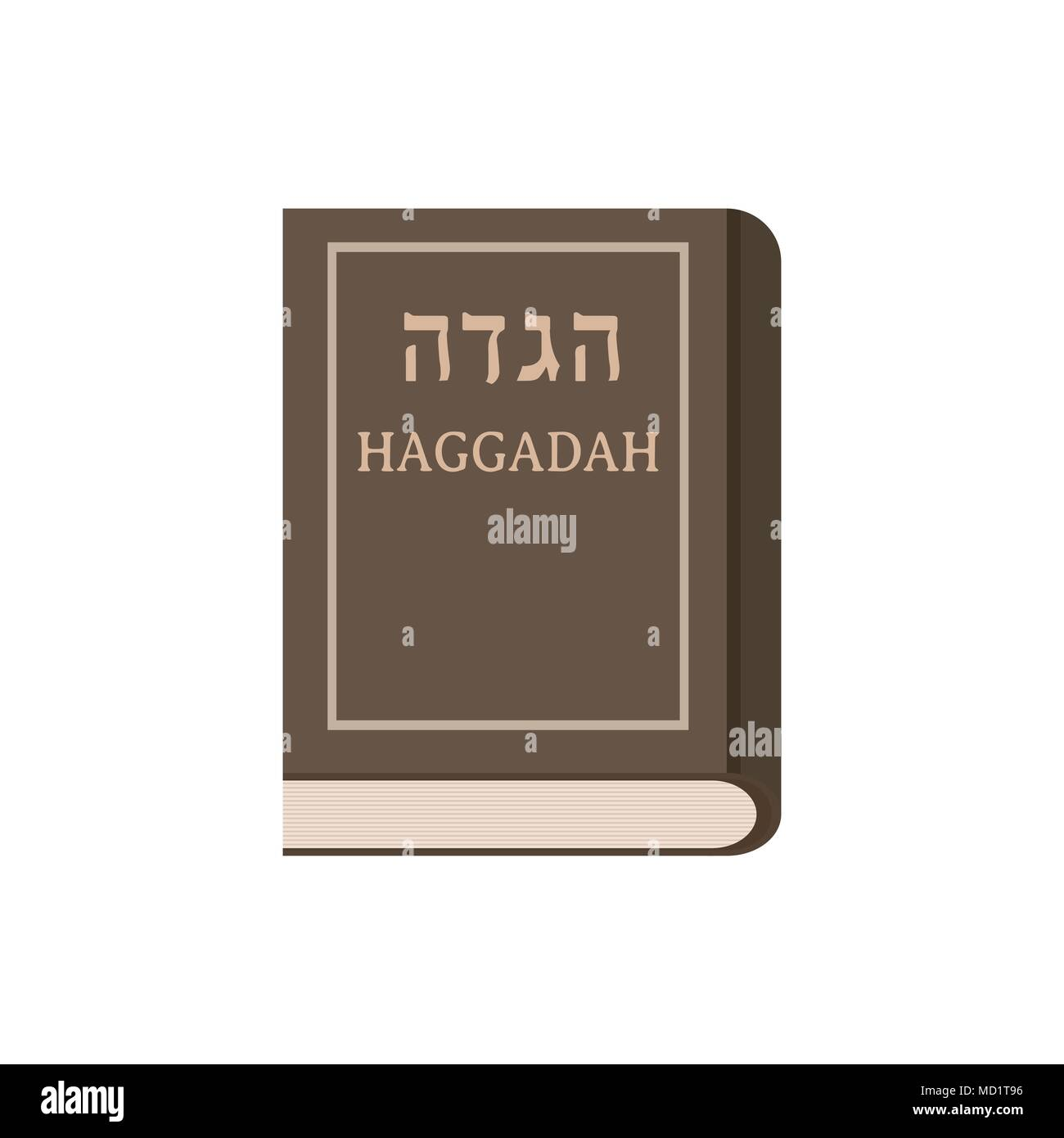 Passover holiday haggadah book flat design icon. - Stock Image