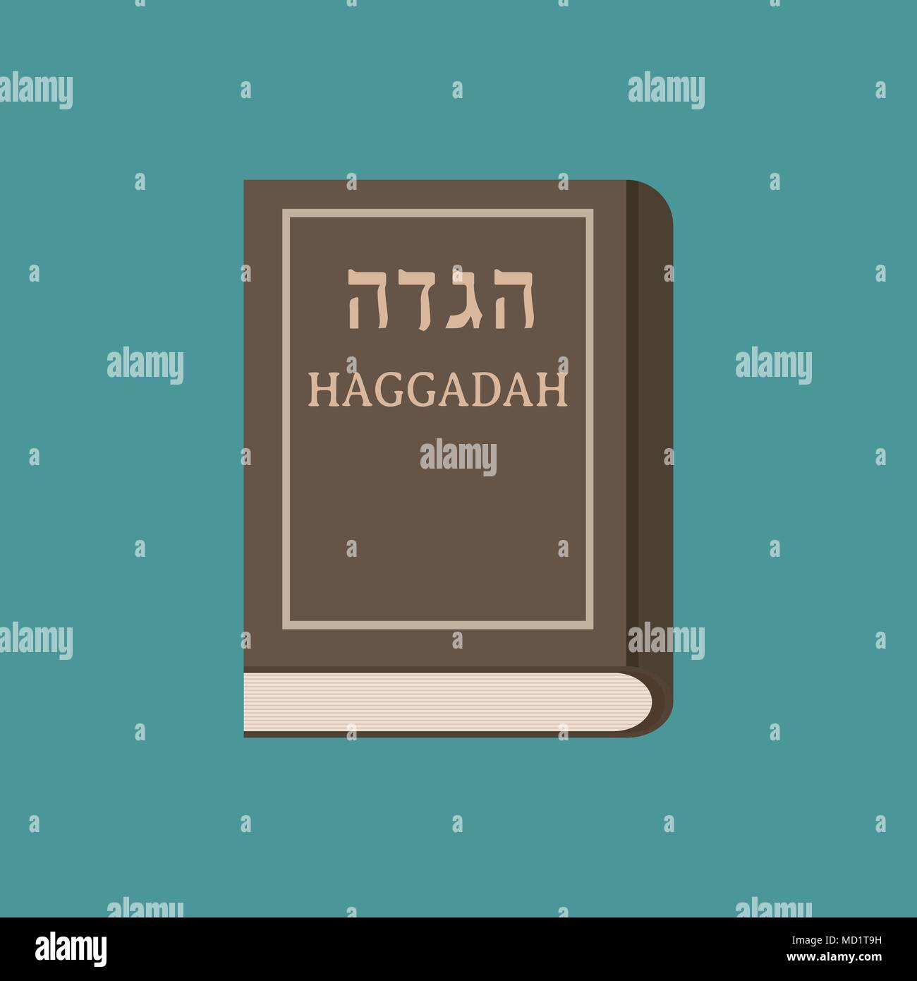 Passover holiday haggadah book flat long shadow design icon. - Stock Image