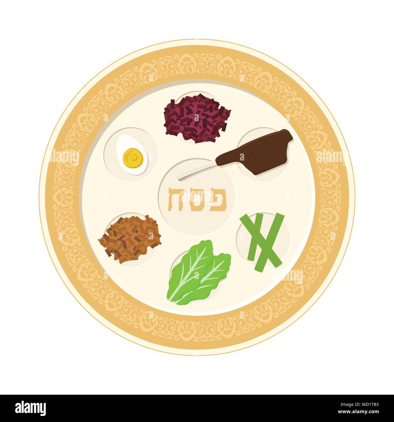 Passover holiday seder plate flat design icon. - Stock Image
