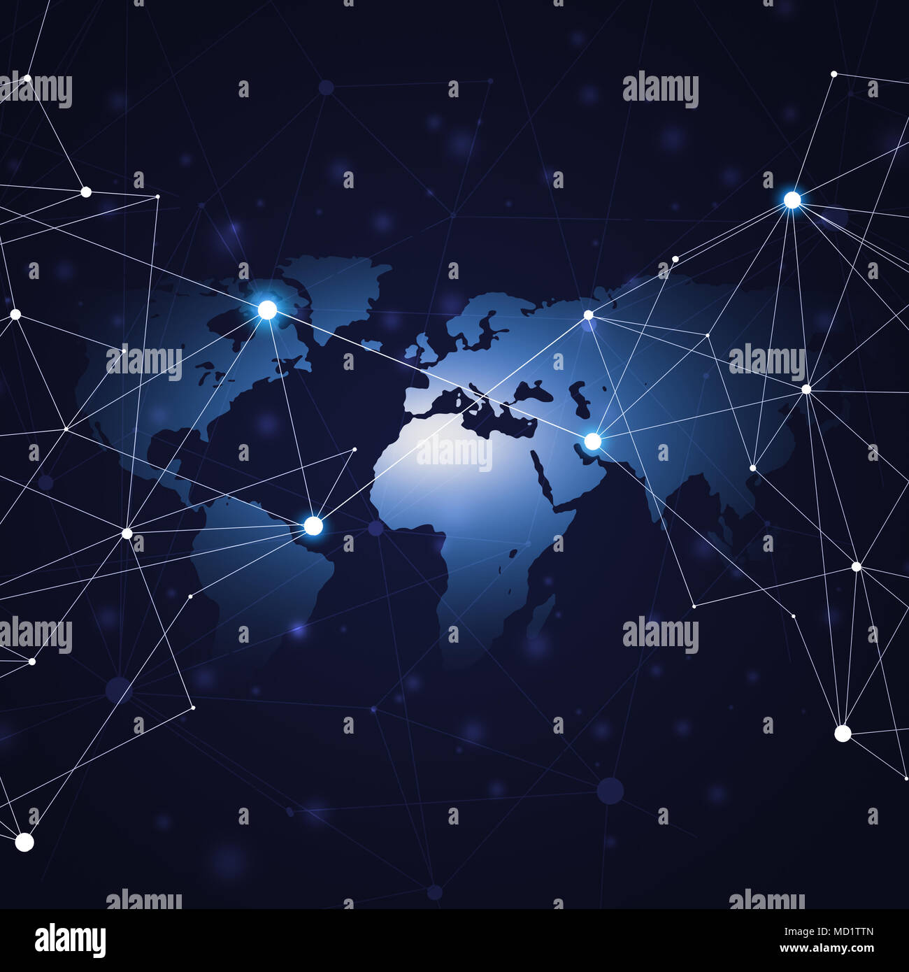 network concept global world connections technology background - Stock Image