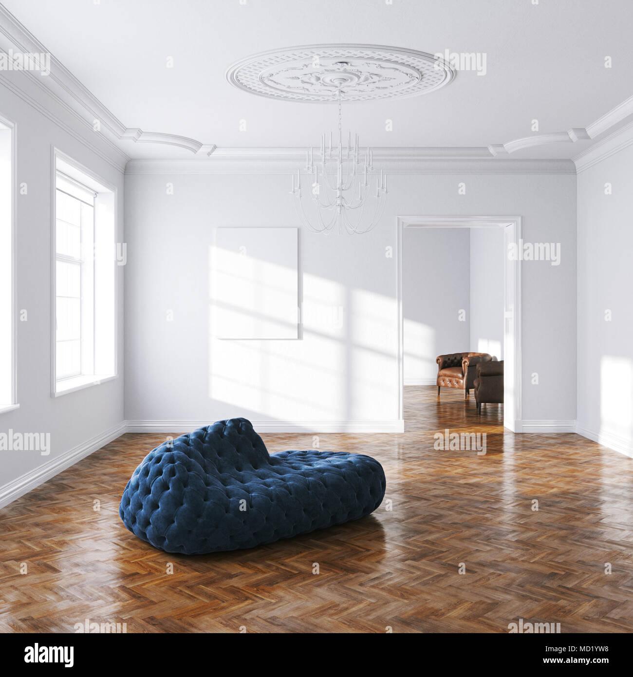 Vintage blue velvet sofa in white classic interior 3d render - Stock Image