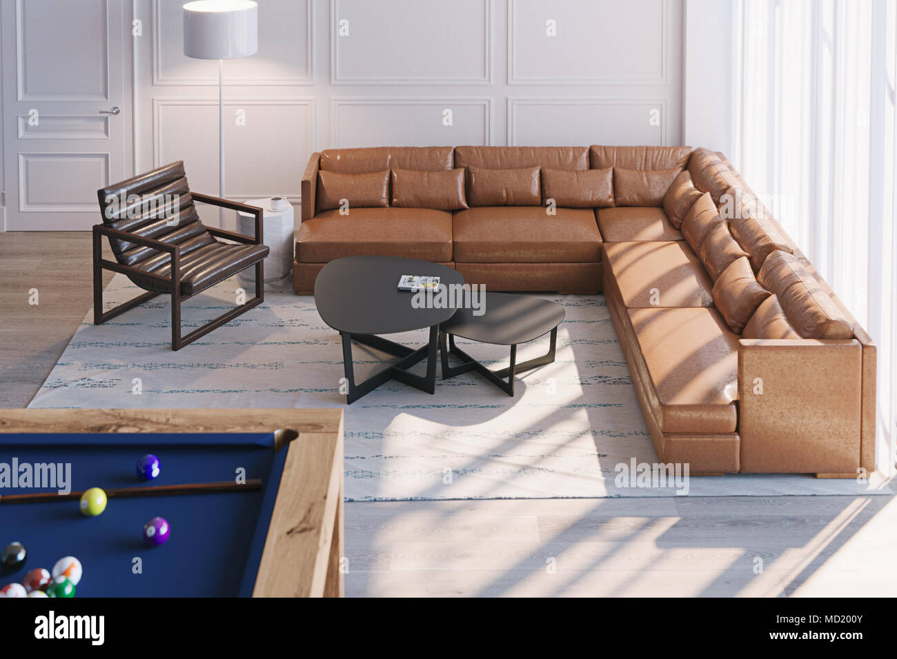 Scandinavian Living room interior with leather sofa and ...