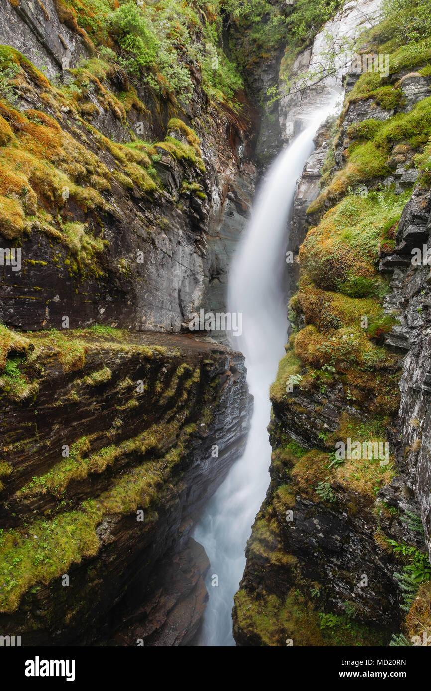 Waterfall in Swedish Lapland near Abisko - Stock Image