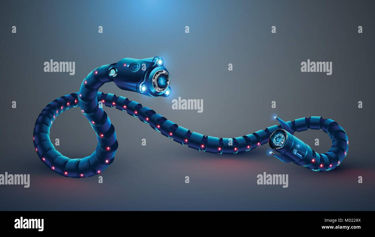 Robot snake. Autonomous drone with fpv camera and lighting - Stock Image