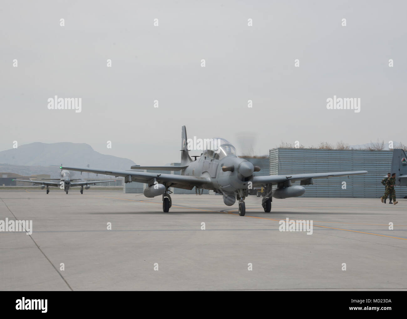 A pair of Afghan Air Force A-29s return after a mission