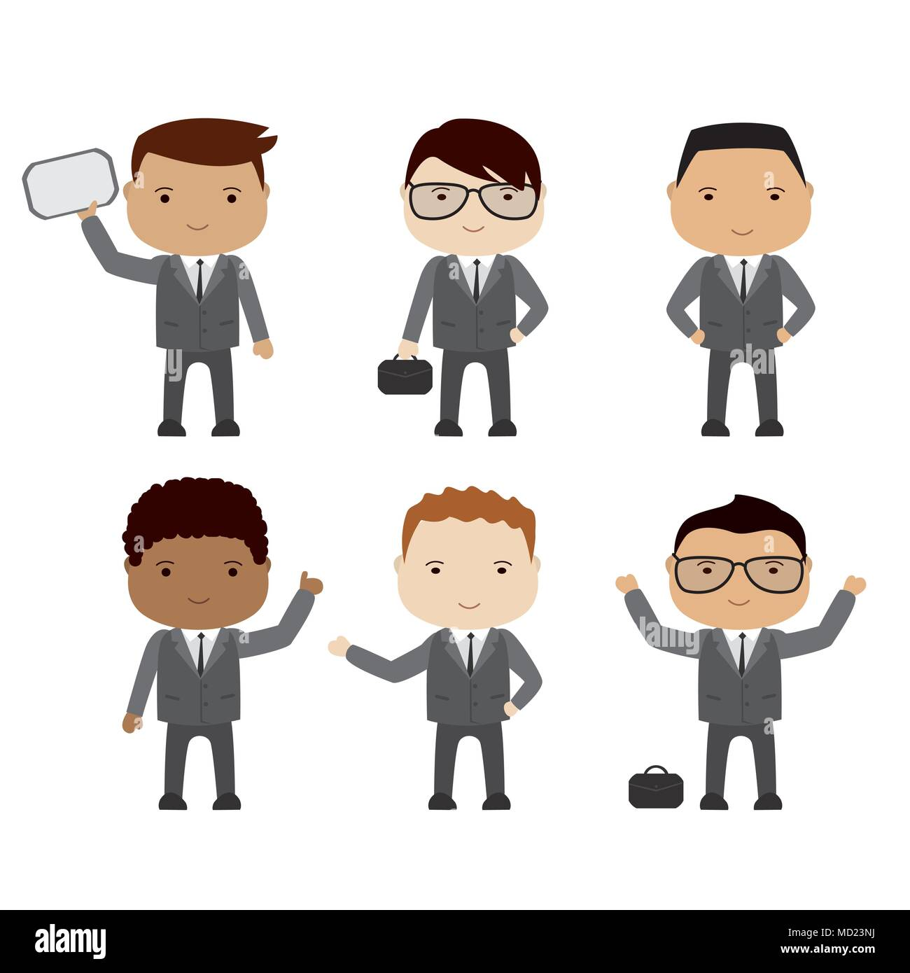 set of funny cartoon businessman or manager in various poses,different races, isolated on white,stock vector illustration - Stock Image
