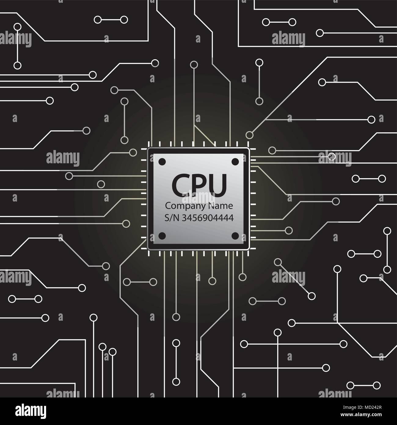 Cpu Microprocessor Microchip And Circuit Board Stock Vector Diagram Of A Illustration