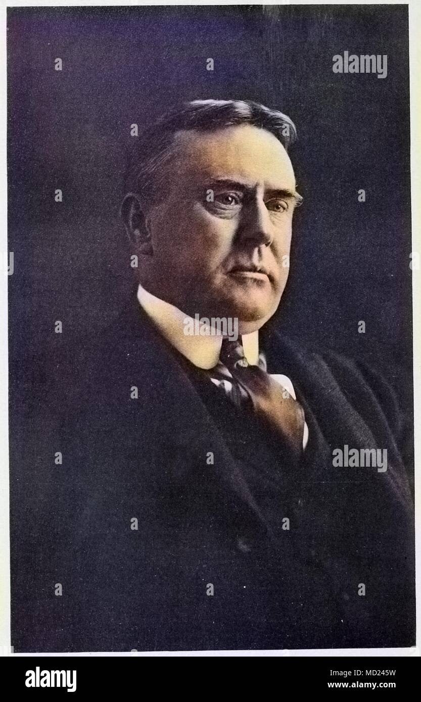 Headshot portrait of George Latimer Potter, vice president of the Baltimore and Ohio Railroad company, 1910. Courtesy Internet Archive. Note: Image has been digitally colorized using a modern process. Colors may not be period-accurate. () - Stock Image