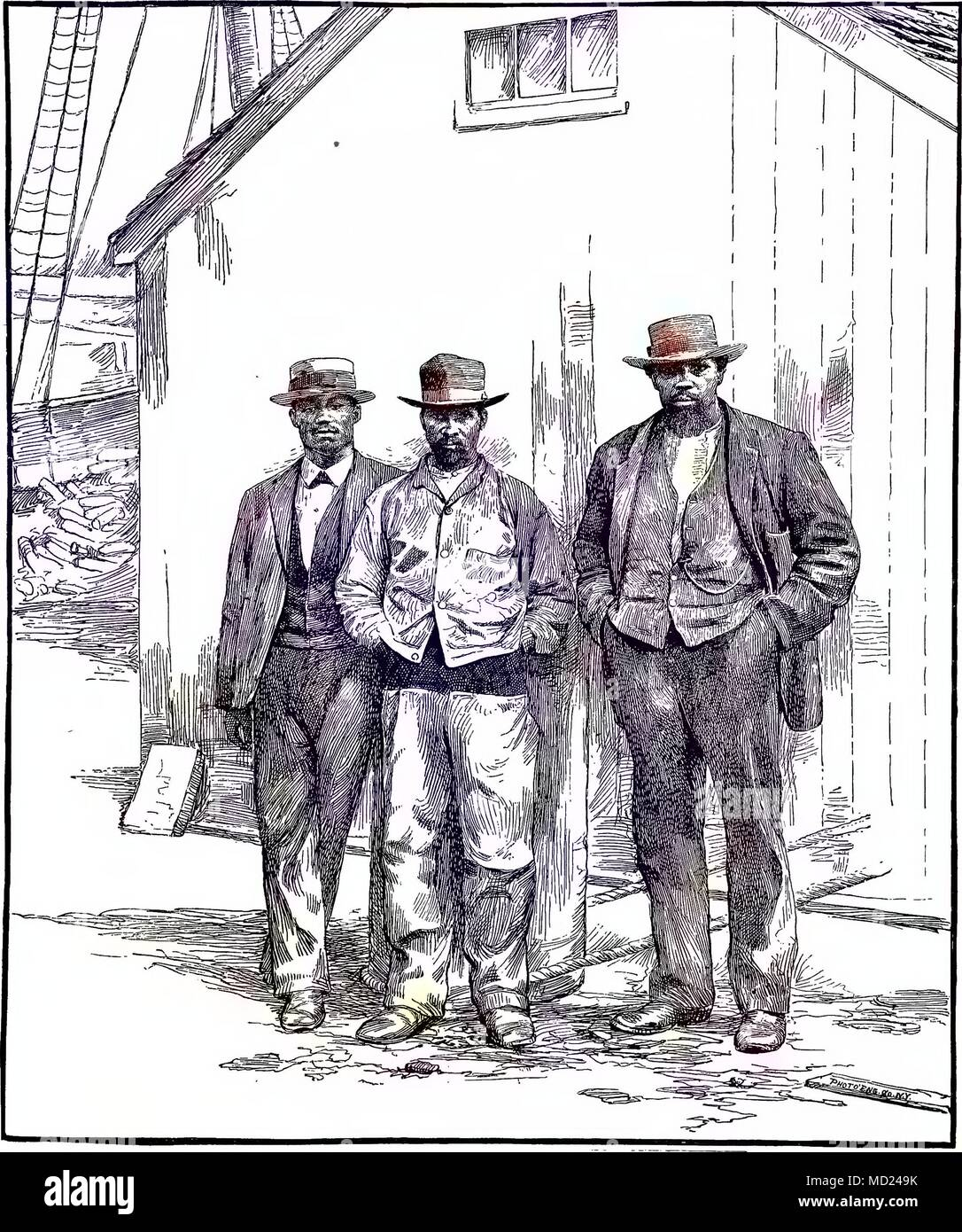 Etching of three Cape Verdean men standing on a wharf, New Bedford, Massachusetts, 1880. Courtesy Internet Archive. Note: Image has been digitally colorized using a modern process. Colors may not be period-accurate. () - Stock Image