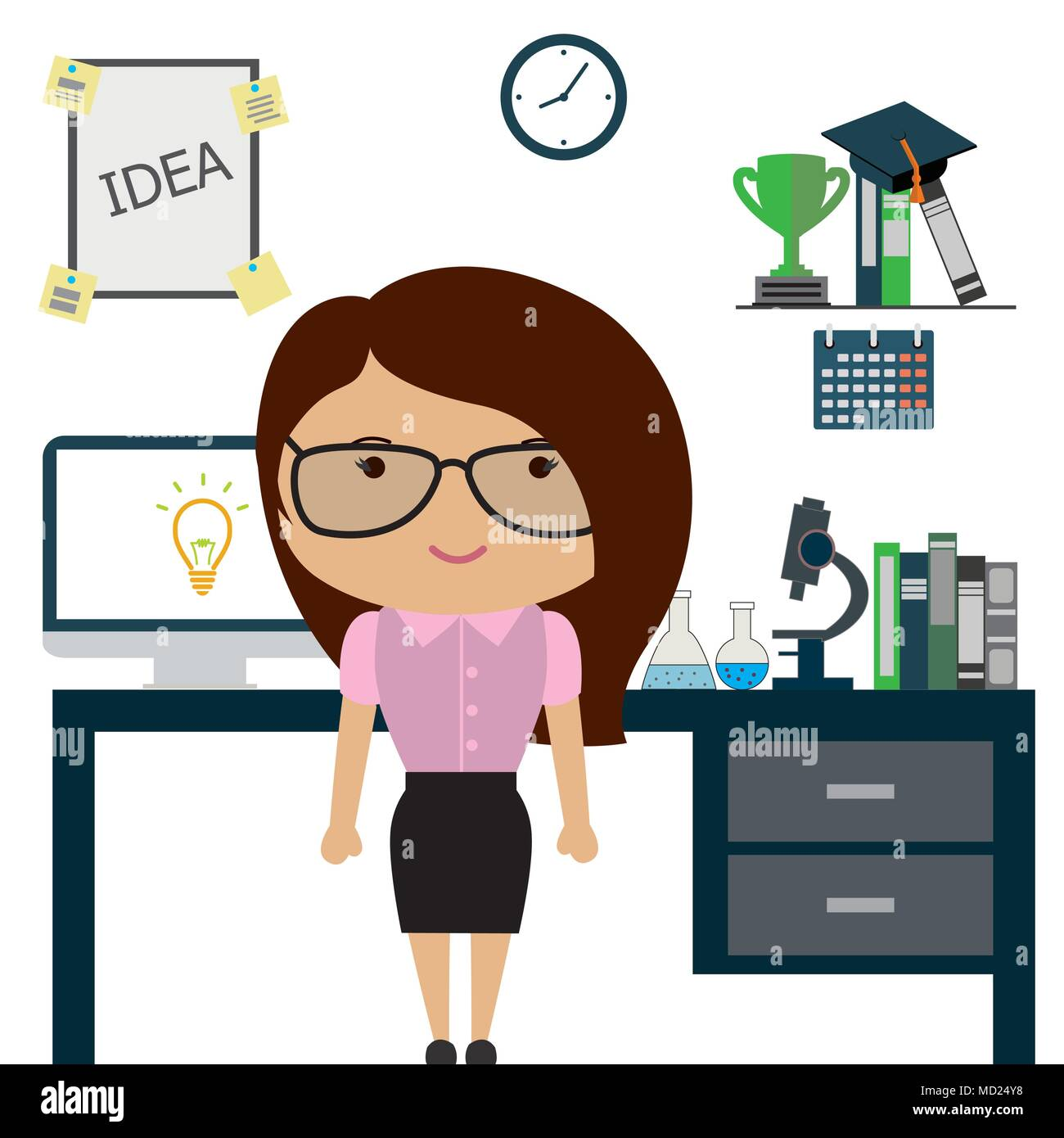 Woman Scientist Or Office Worker In Officecartoon Funny Stock