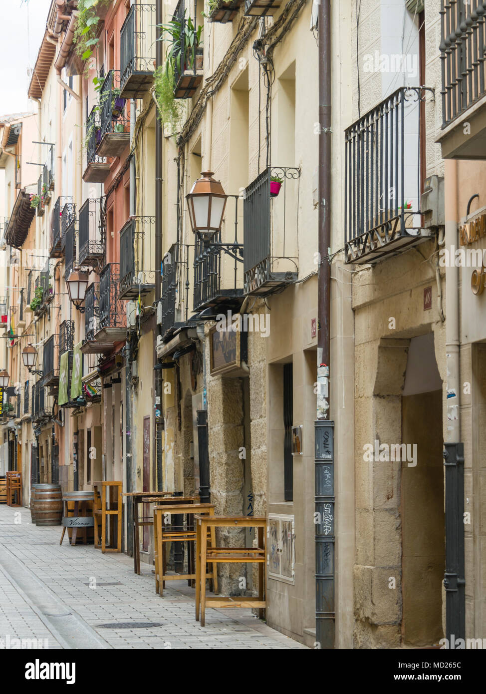 Tapas bars in a side street in Logroño, Spain Stock Photo