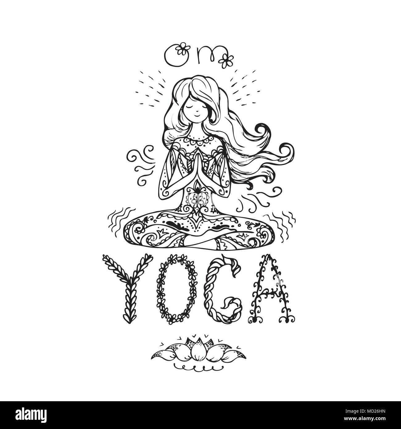 Girl in lotus yoga pose. Doodle hand drawn vector illustration in zentangle style.Logo, icon or card for healthy life, sport, fitness, pilates and yog - Stock Image