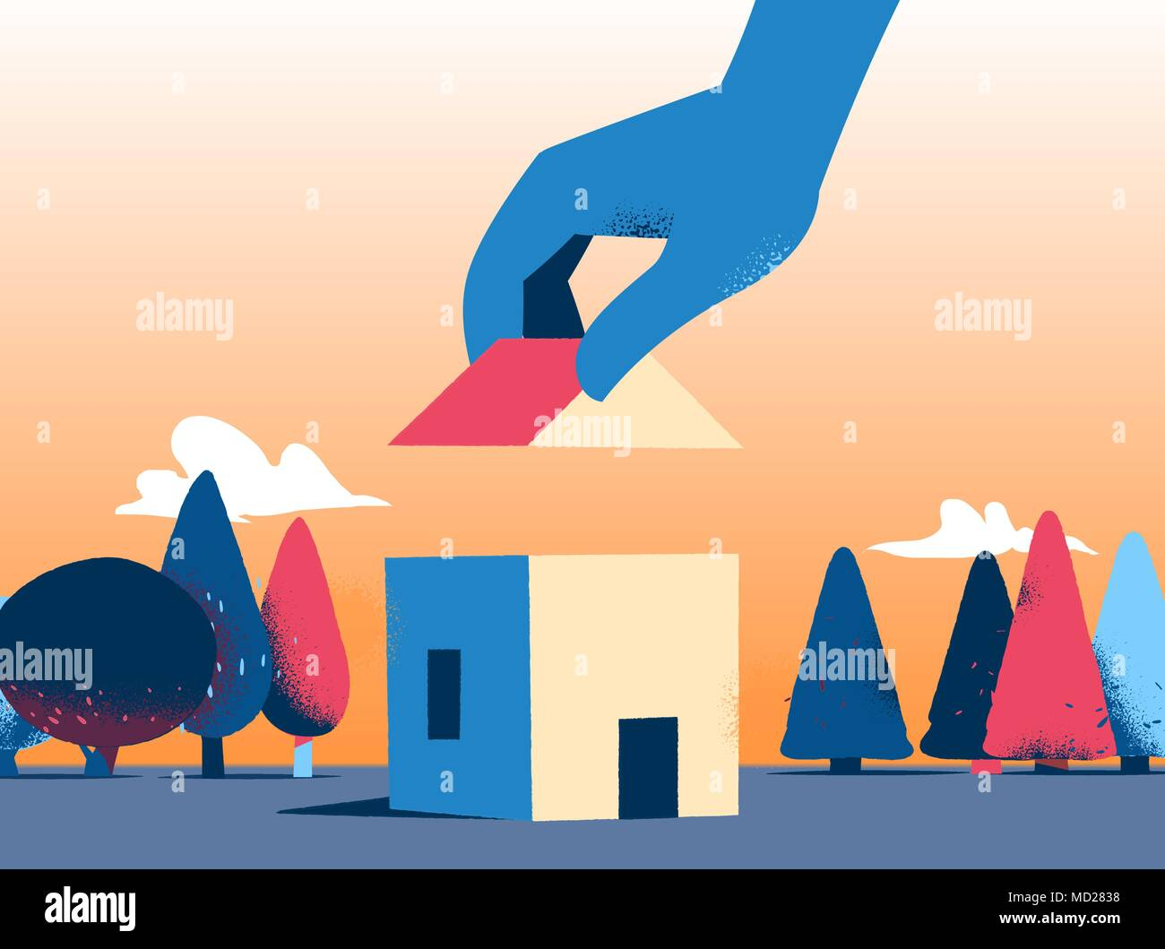 Building a nice house in the park - Stock Vector