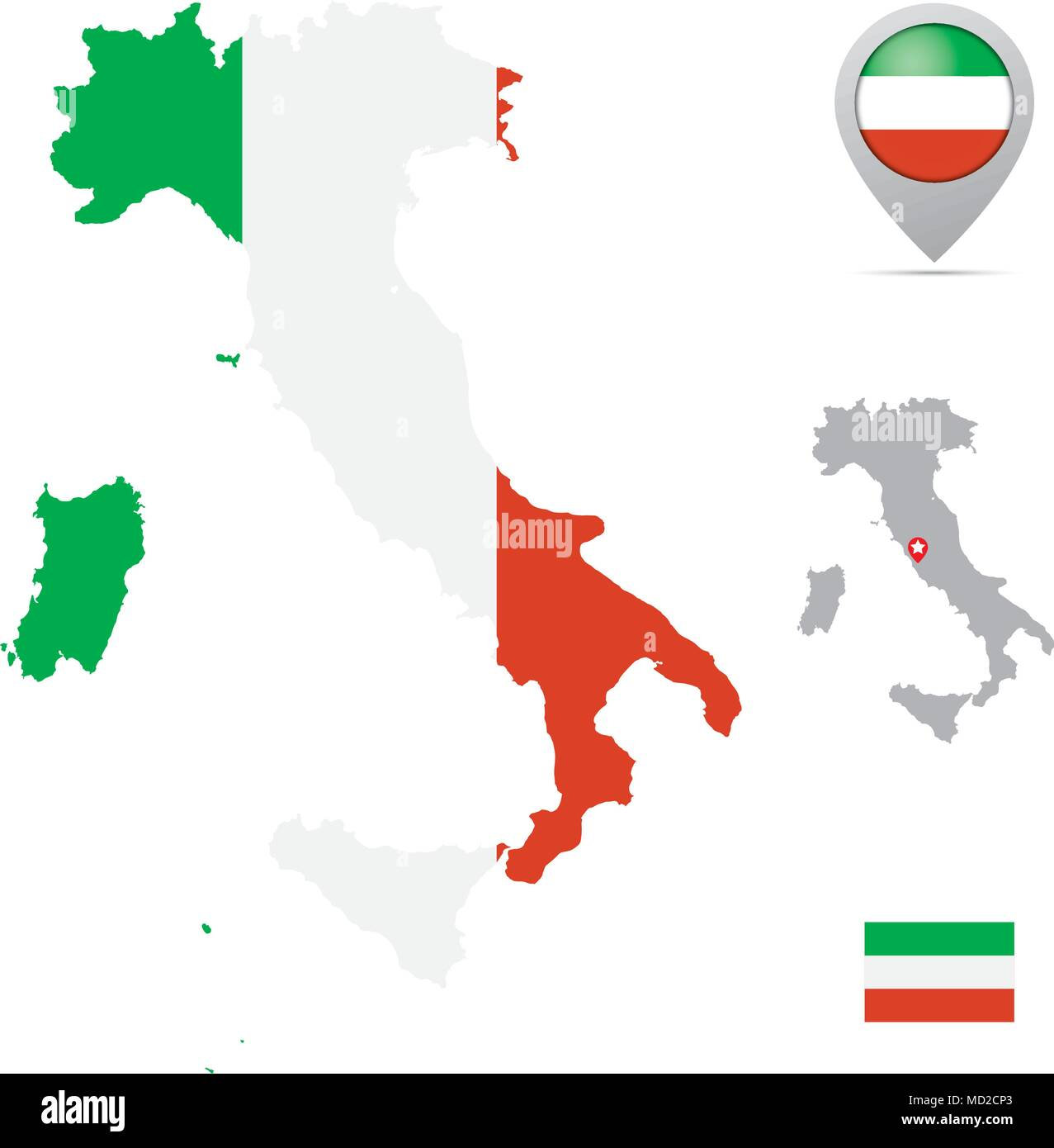 Capital Of Italy Map.Italy Map In National Flag Colors Flag Marker And Location Of
