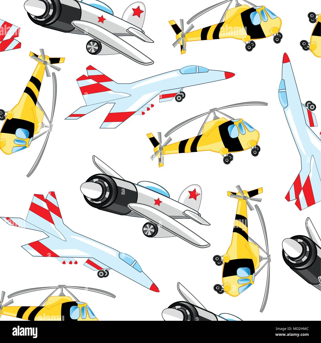 Fighter with plane and helicopter pattern - Stock Vector