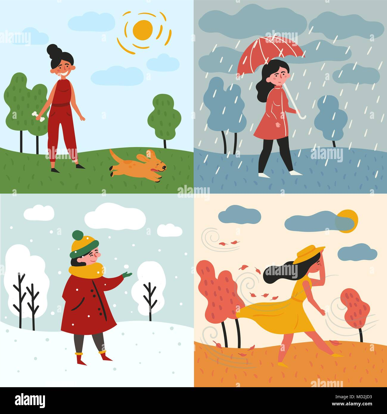 A girl and four seasons and weather. Snowy, rainy - Stock Vector