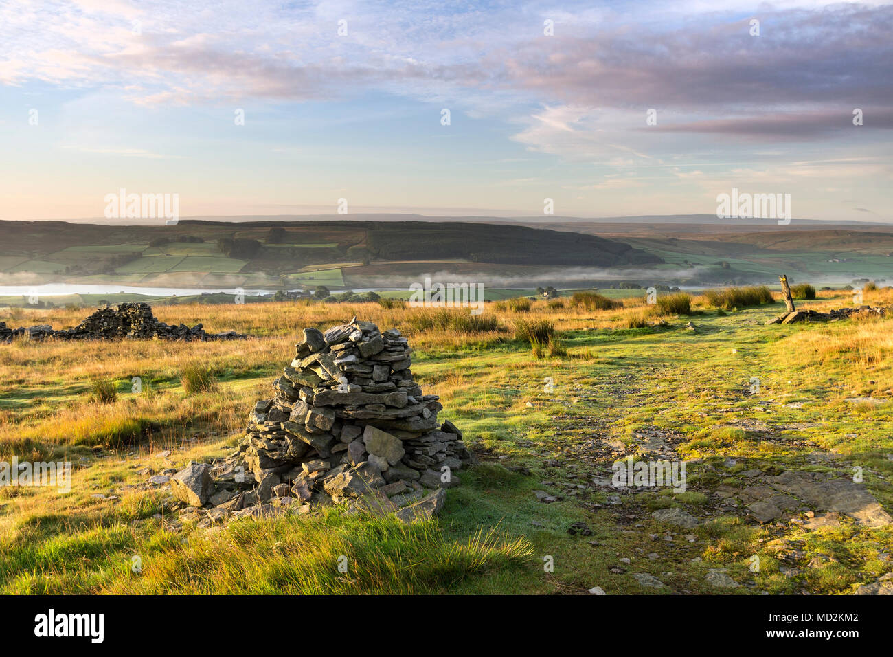 The Pennine Way and the View South Over Lunedale From Harter Fell, Teesdale, County Durham, UK - Stock Image