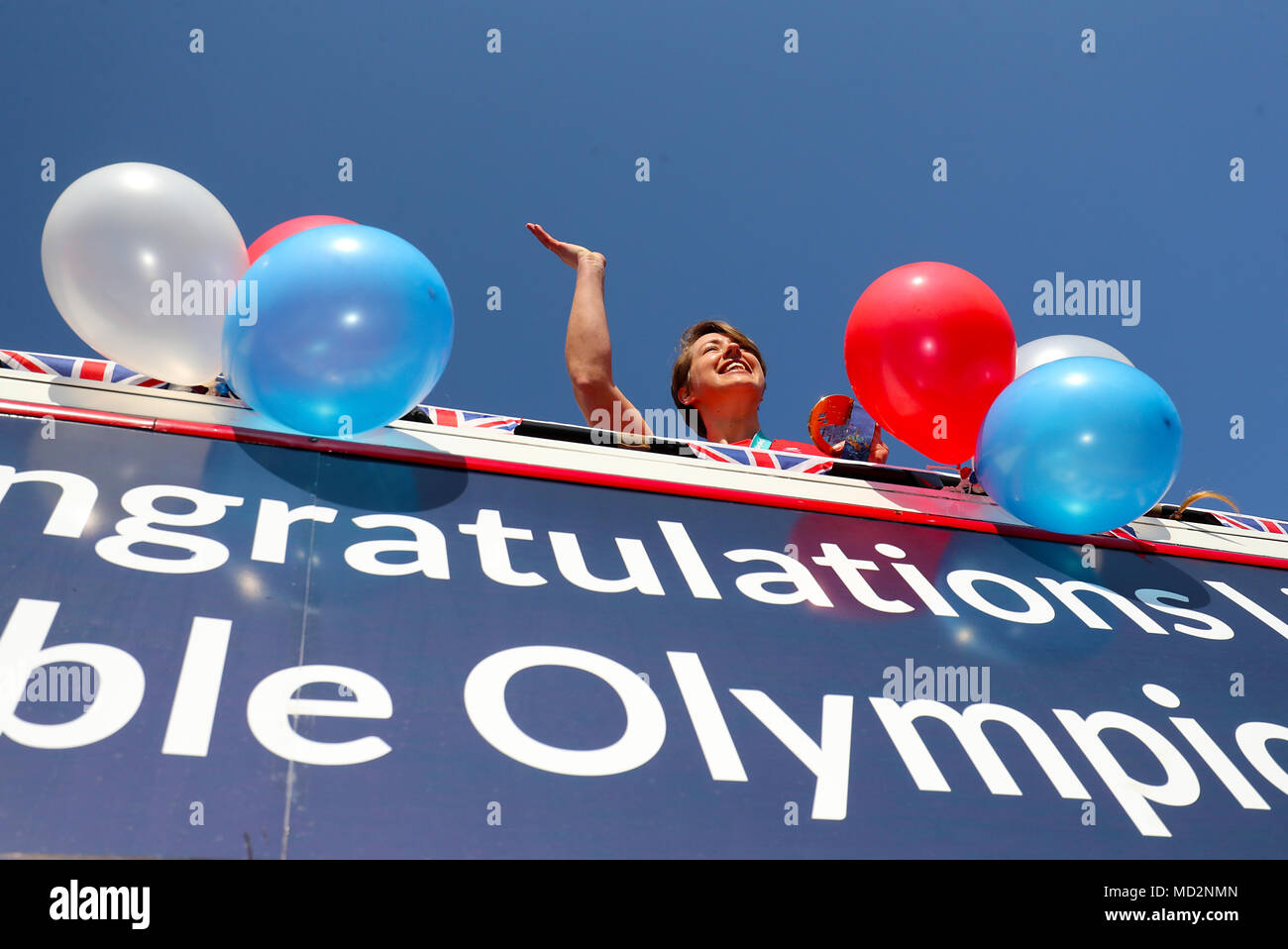 Lizzy Yarnold during the victory bus tour through Sevenoaks, Kent ...